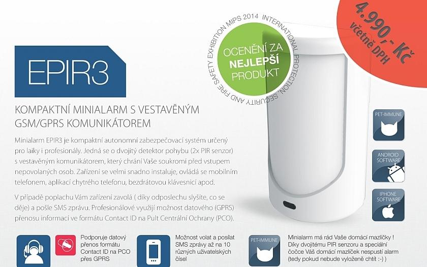 Minialarm EPIR 3 - rychlé a spolehlivé zabezpečení chaty, garáže nebo karavanu
