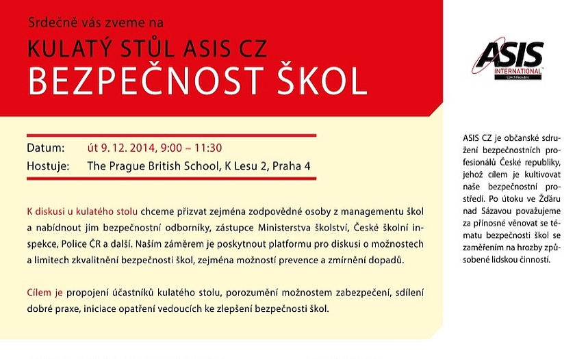 AKTUÁLNĚ: pozvánka k diskuzi o bezpečnosti na školách