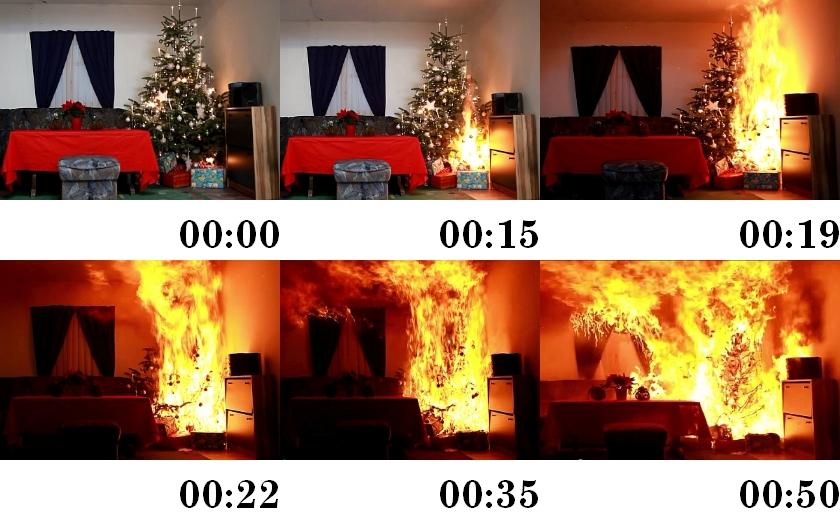 Advent je tady - nebezpečí požáru vzrůstá. Jak rychle vzplane vánoční stromek?