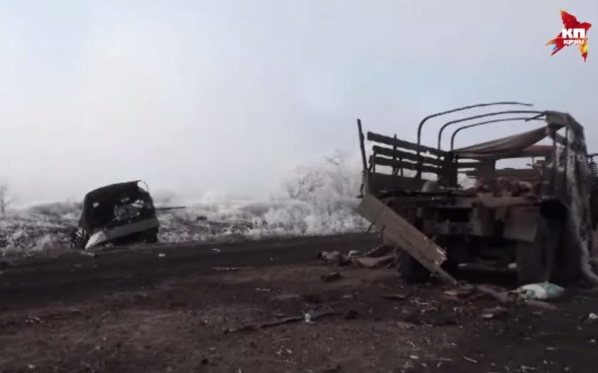 Debalcevo: rozmetaná kolona Ukrajinců na ústupu a bohaté trofeje separatistů