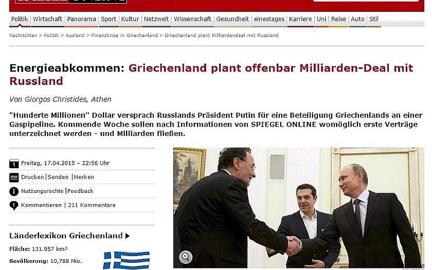 Řecko získá od Ruska miliardy euro za plynovod