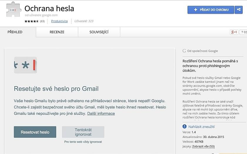 Doplněk Password Alert pro Chrome už NE/chrání váš Google účet před phishingem