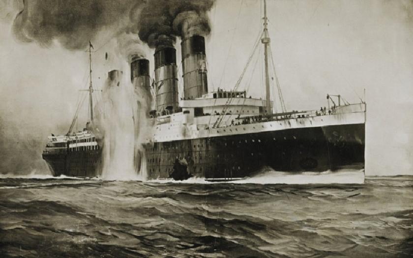 1198 mrtvých z Lusitanie dohnalo USA do první světové války