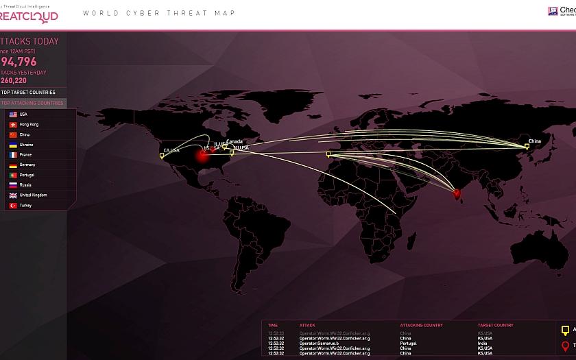 Probíhající kyberútoky po celém světě v reálném čase a online na mapě od Check Pointu