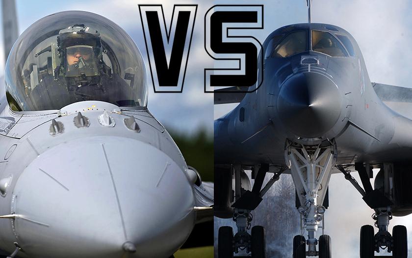 VIDEO: Když si pilot B-1B nevšimne malé F-16
