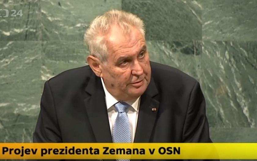 Prezident Zeman tvrdě zkritizoval OSN: Šestnáct let se o boji proti terorismu jenom diskutuje