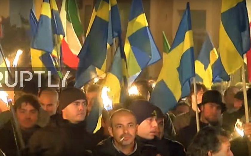 Protiuprchlická demonstrace v severní Itálii
