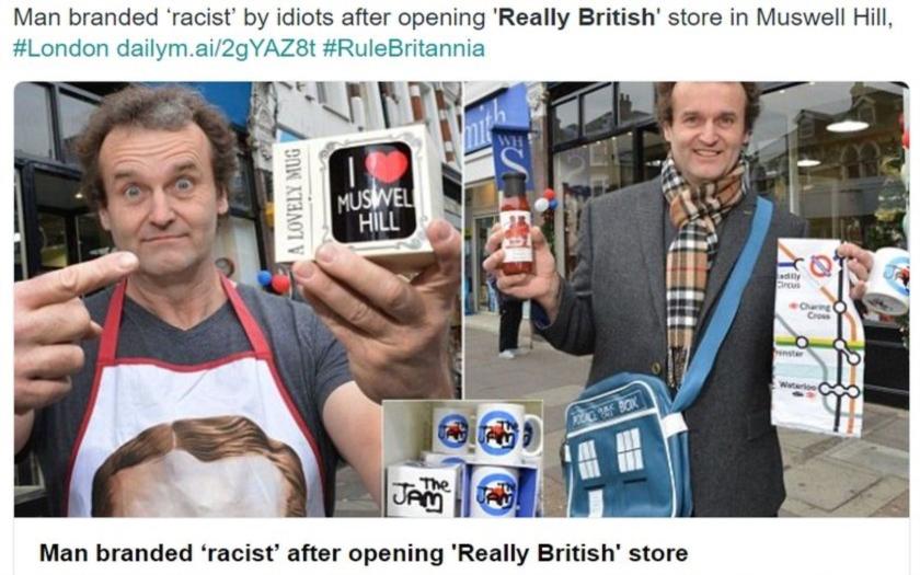 Londýnský obchodník obviněn z rasismu. Svůj obchod pojmenoval &quote;Really British&quote;