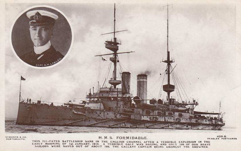 1. ledna 1915 potopila německá ponorka U-24 britskou bitevní loď Formidable