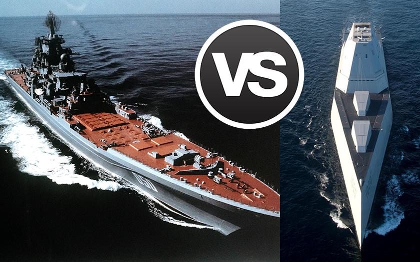Ruský křižník Kirov vs. americký USS Zumwalt: Kdo vyhraje?