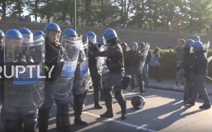 (VIDEO) ''Von s vrahmi!'' kričtali demonštranti   na summite G7 v Taliansku, polícia tvrdo zasiahla