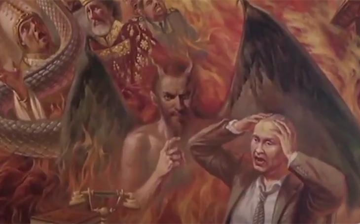 Video: Putin hoří v pekle na malbě v ukrajinském kostele