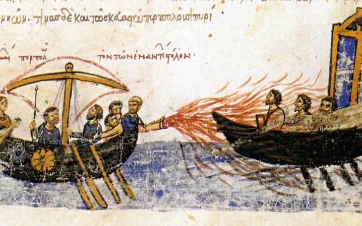 Řecký oheň byzantských císařů spálil arabské i ruské nájezdníky