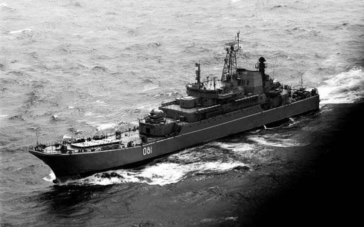 Ruská výsadková loď Jamal se opět srazila s civilní lodí