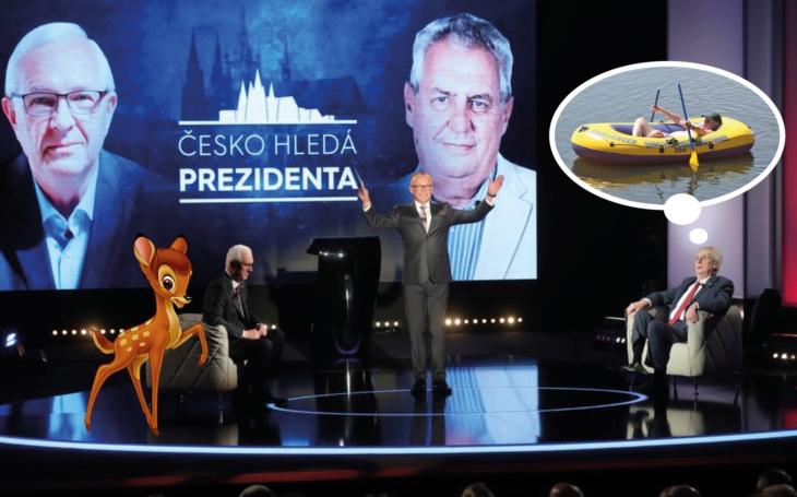 První prezidentský duel: Vtipný stařík vs. plachá laň. Jak Zeman převálcoval Drahoše