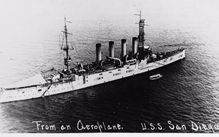 USS San Diego - jediná velká válečná loď, kterou Spojené státy za první světové války ztratily