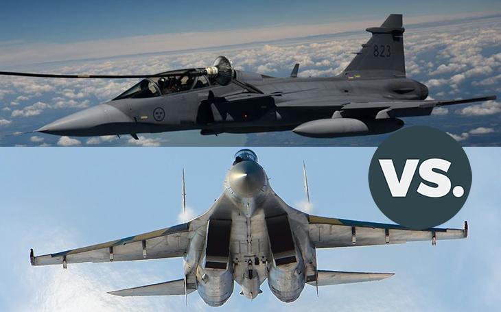 Vzdušné války - JAS-39 Gripen vs. Su-35. Kdo by zvítězil ve vzájemné potyčce?