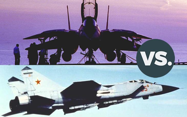 Vzdušné války - americká nadzvuková ,,klasika&quote; F-14 vs. specialista na špionážní letouny MiG-31. Kdo by koho skolil ve vzájemné bitvě?