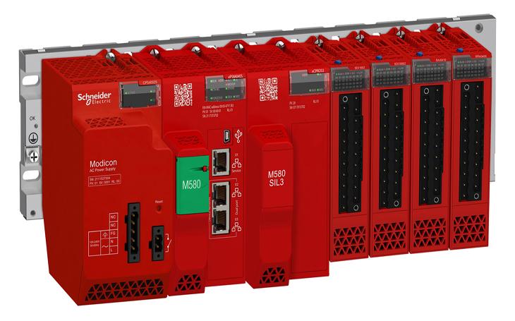 Červený Modicon M580 Safety vyniká v řízení kritických aplikací v průmyslu i energetice