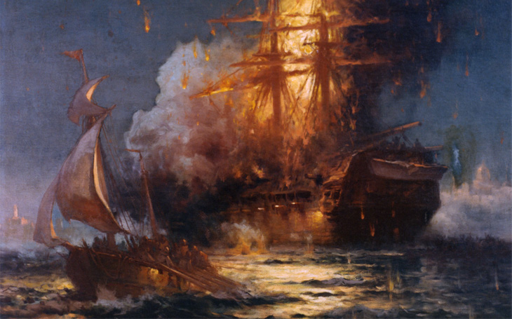 Válečná lest drzého lajtnanta: Barbarům v Tripolisu &quote;vypálil rybník&quote; i s lodí