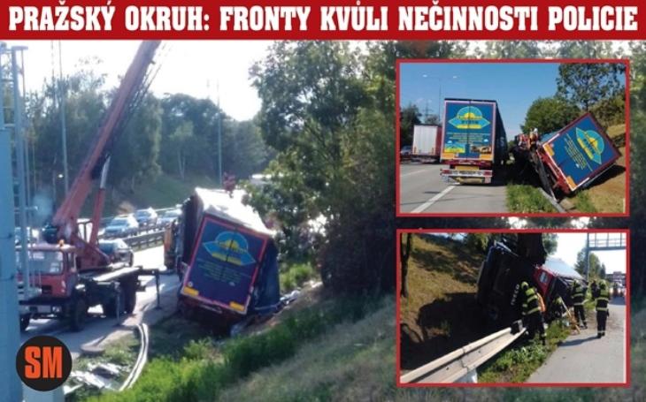 Řidič havarovaného kamiónu se pokusil odstranit vrak svépomocí! Výsledek: Rekordní fronty na Pražském okruhu. Proč policie selhala a co říká zákon?